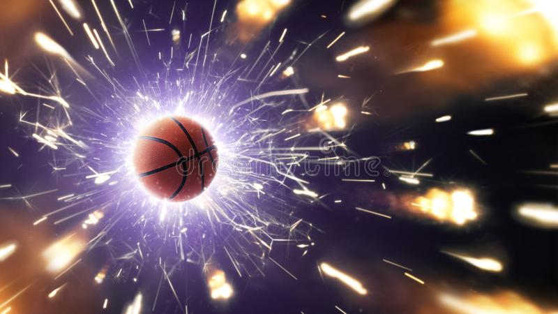 Basketball. Basketball ball. Basketball background with fiery sparks in action stock photos