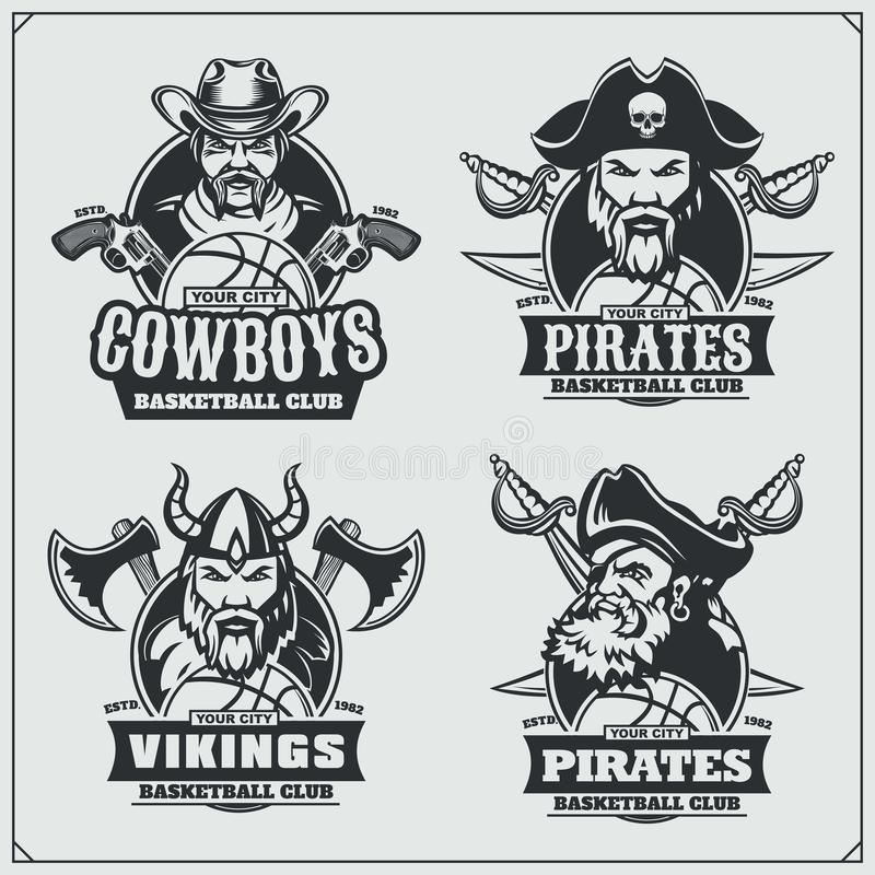 Basketball badges, labels and design elements. Sport club emblems with pirate,cowboy and viking. Vector stock illustration