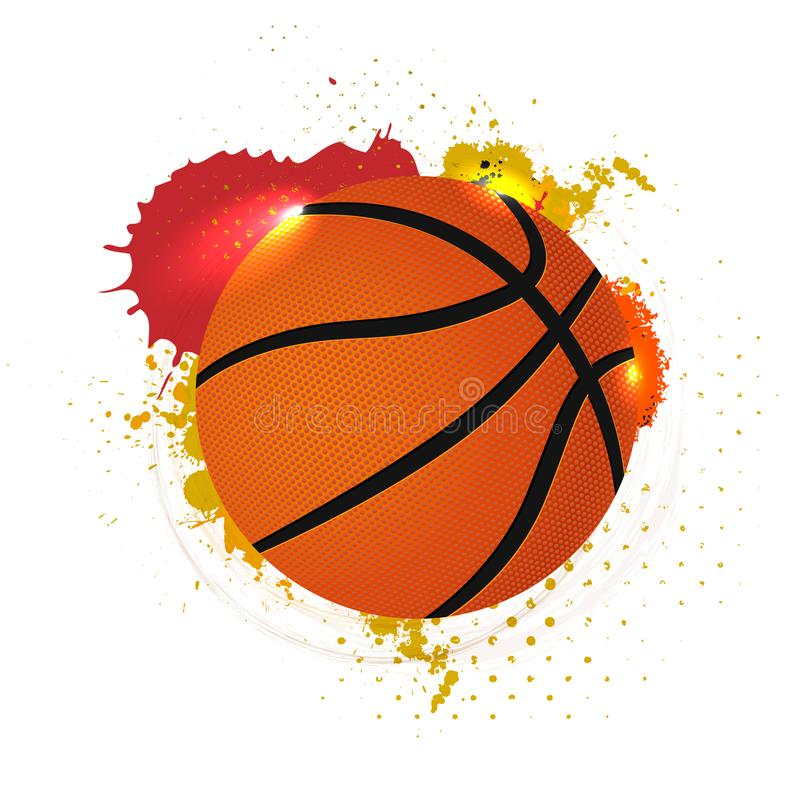 Basketball ball with abstract grungy elements on white background stock illustration