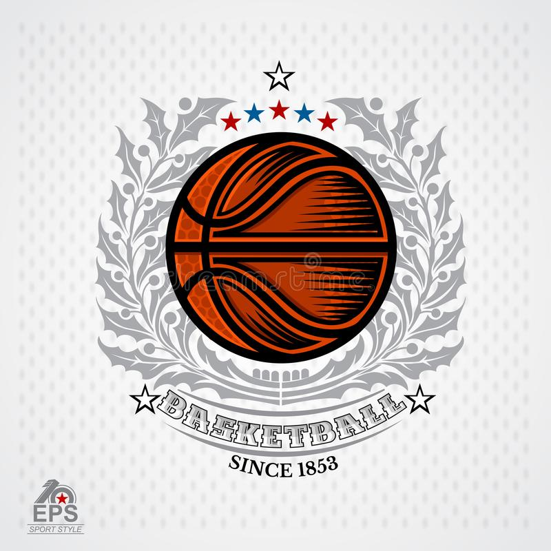 Basketball ball in center of silver wreath on light background. Sport logo. For any team stock illustration