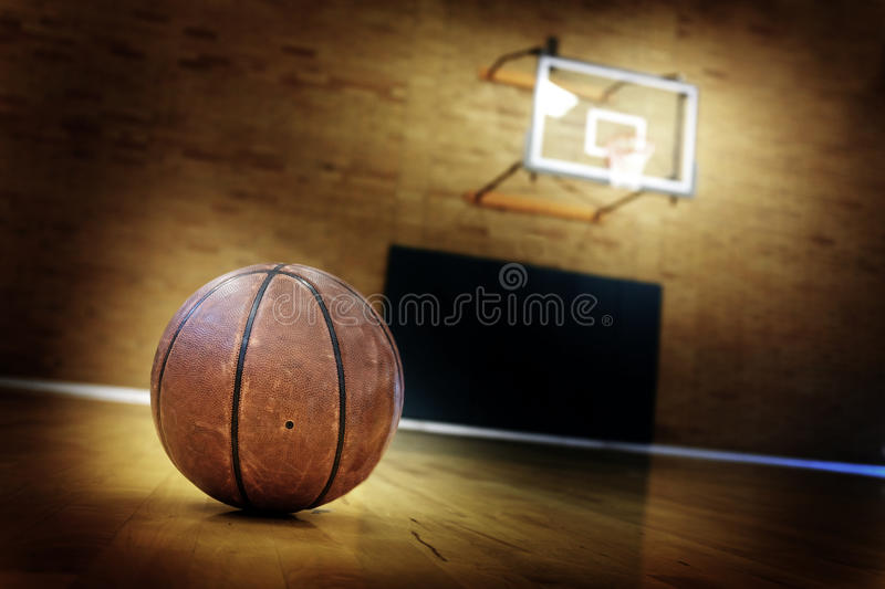 Basketball on Ball Court for Competition and Sports. Ball on basketball court for competition and sports royalty free stock photography