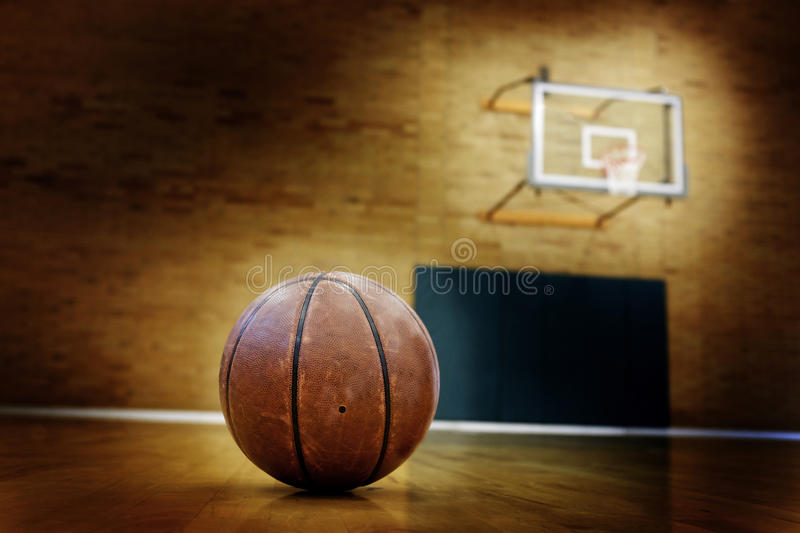 Basketball on Ball Court for Competition and Sports. Ball on basketball court for competition and sports stock image