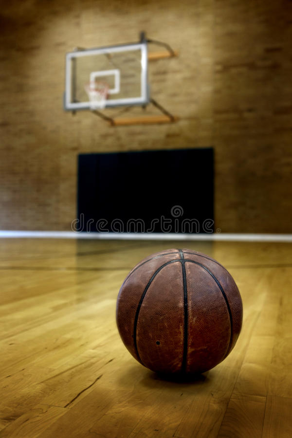 Basketball on Ball Court for Competition and Sports. Ball on basketball court for competition and sports stock photos