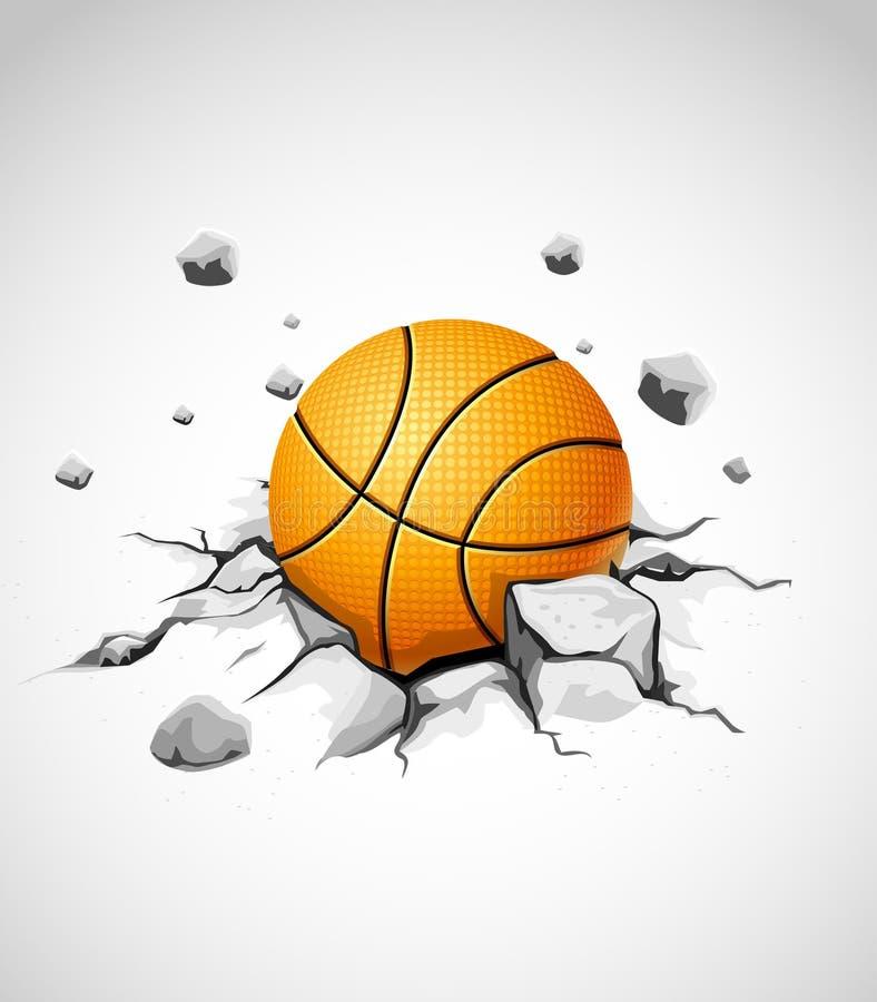 Basketball ball in cracked stone stock illustration