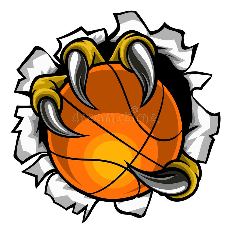 Basketball Ball Eagle Claw Tearing Background. Eagle, bird or monster claw or talons holding a basketball ball and tearing through the background. Sports graphic royalty free illustration