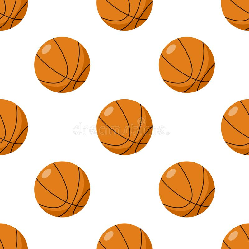 Basketball Ball Flat Icon Seamless Pattern royalty free illustration
