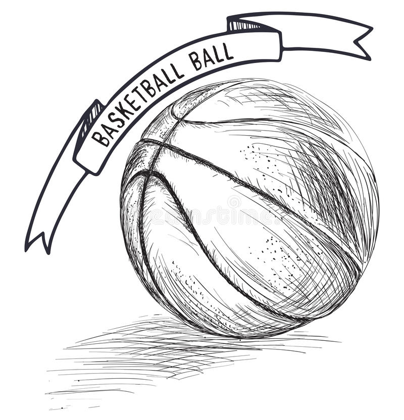 Basketball Ball Hand Drawn Sketch Imitation With Banner Stock Vector - Image 67679513