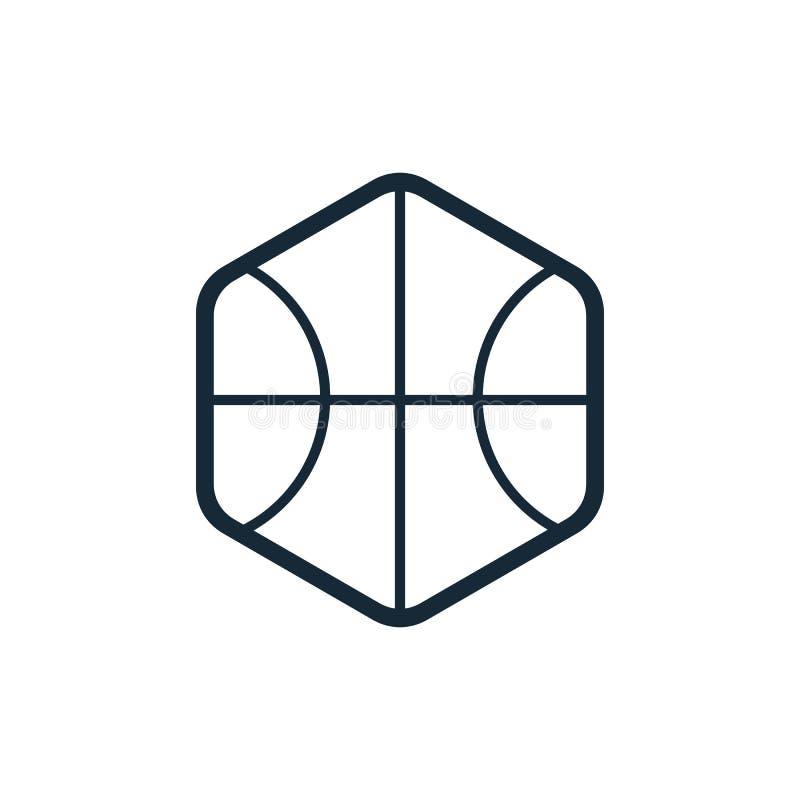 Basketball ball icon design. Flat design style. Outline logo for sport concept - Vector stock illustration