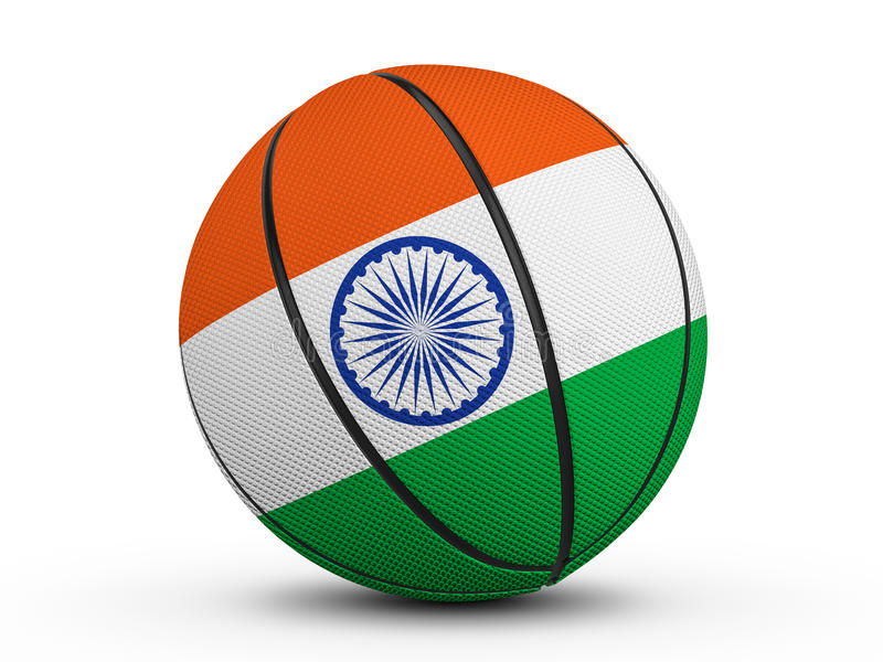 Basketball ball India flag vector illustration