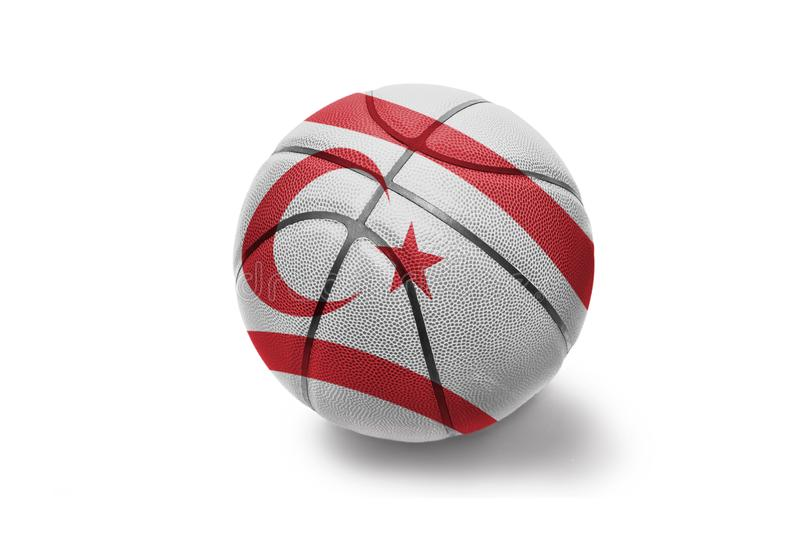 Basketball ball with the national flag of northern cyprus on the white background. Basketball ball with the colored national flag of northern cyprus on the white royalty free stock photos