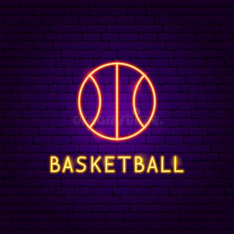 Basketball Ball Neon Label stock illustration
