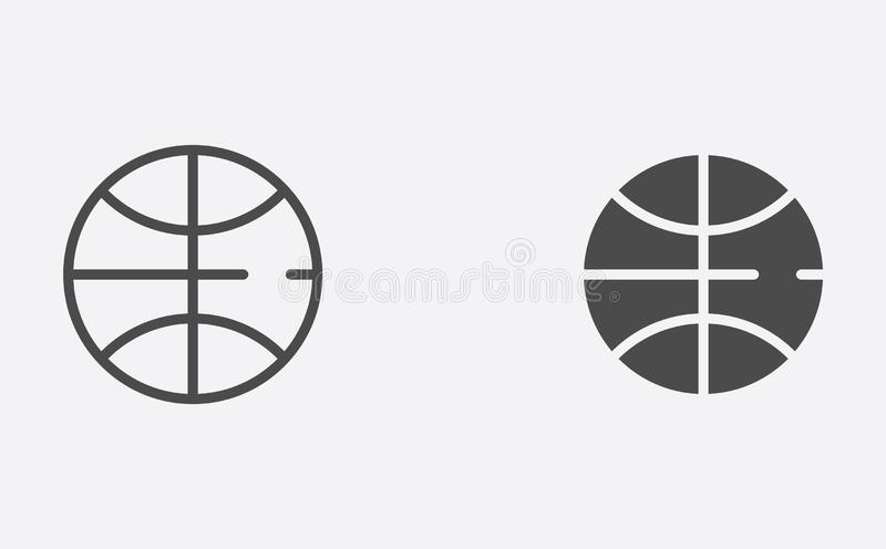 Basketball ball outline and filled vector icon sign symbol vector illustration