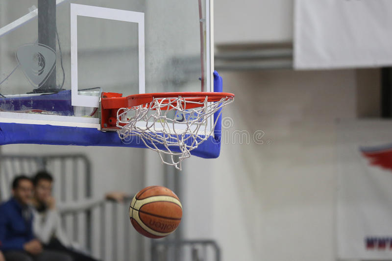 Basketball. Ball pictured during the game between Steaua CSM Exim Bank Bucharest and BC Mures Targu Mures stock photos