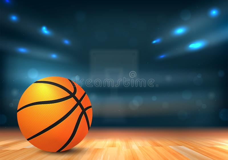 Basketball ball in sport arena with tribunes and lights vector illustration