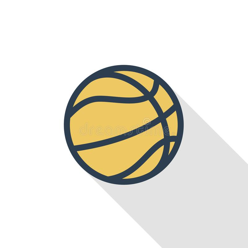 Basketball ball thin line flat color icon. Linear vector symbol. Colorful long shadow design. Basketball ball thin line flat color icon. Linear vector vector illustration