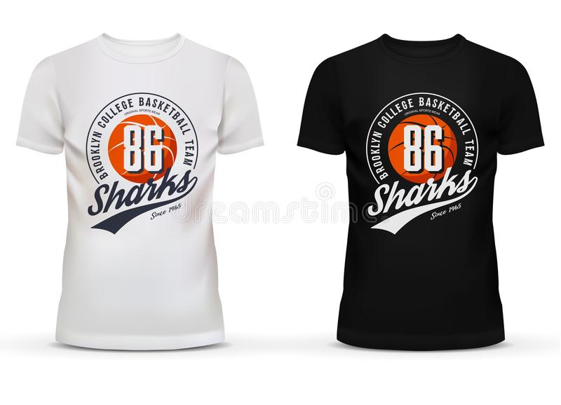 Basketball ball on u-neck t-shirt. For new york college team fans. Printing on brooklyn sportswear men and women clothing for sharks amateur team. Perfectly for stock illustration