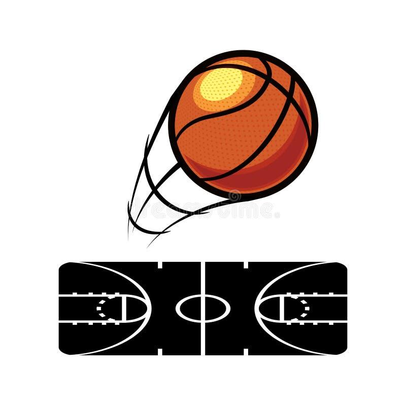 Basketball balloon with court. Vector illustration design stock illustration