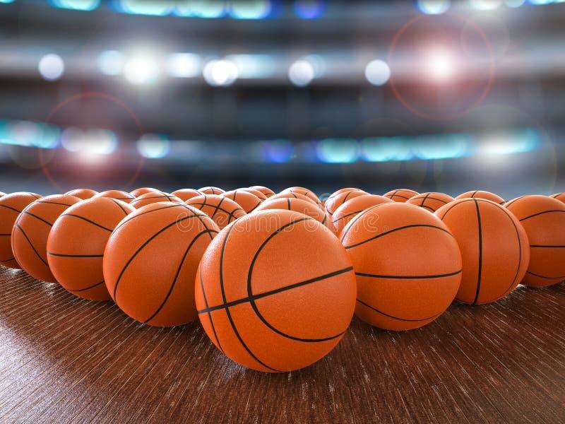 Basketball balls. 3d rendering basketball balls on wooden floor with shining lights