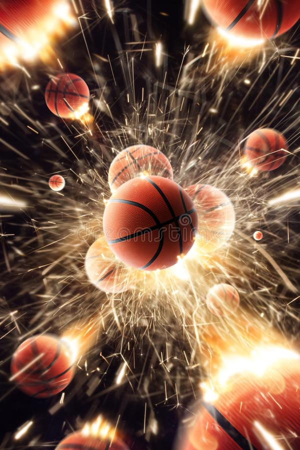 Basketball balls with fire sparks in action. Black isolated stock photo