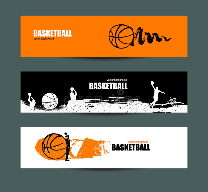 Basketball banner, set of sports templates for the tournament, abstract ball. Drawing of spots, sketches of players. Brush element. EPS file is layered stock illustration