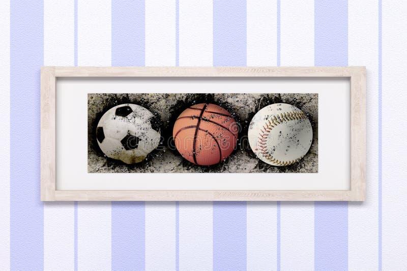 Basketball, baseball and soccer royalty free illustration