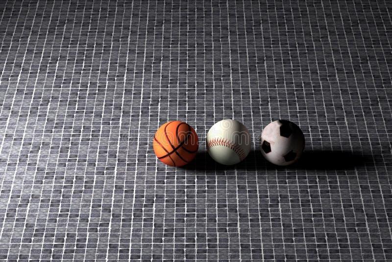 Basketball baseball and soccer balls royalty free illustration