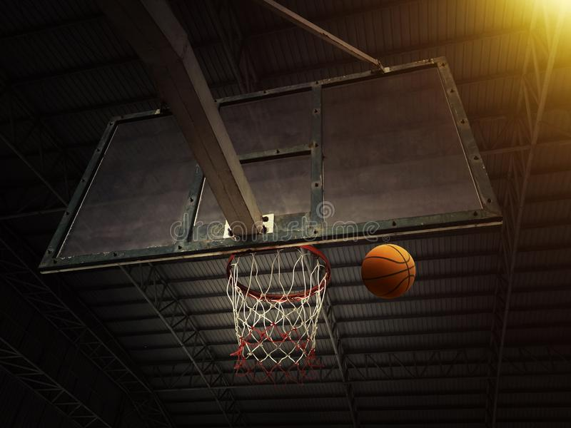 Basketball basket with all going through net royalty free stock photography