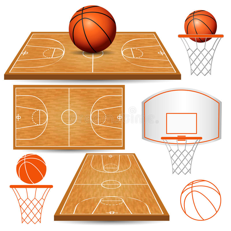 Basketball basket, hoop, ball, fields isolated on white background vector illustration