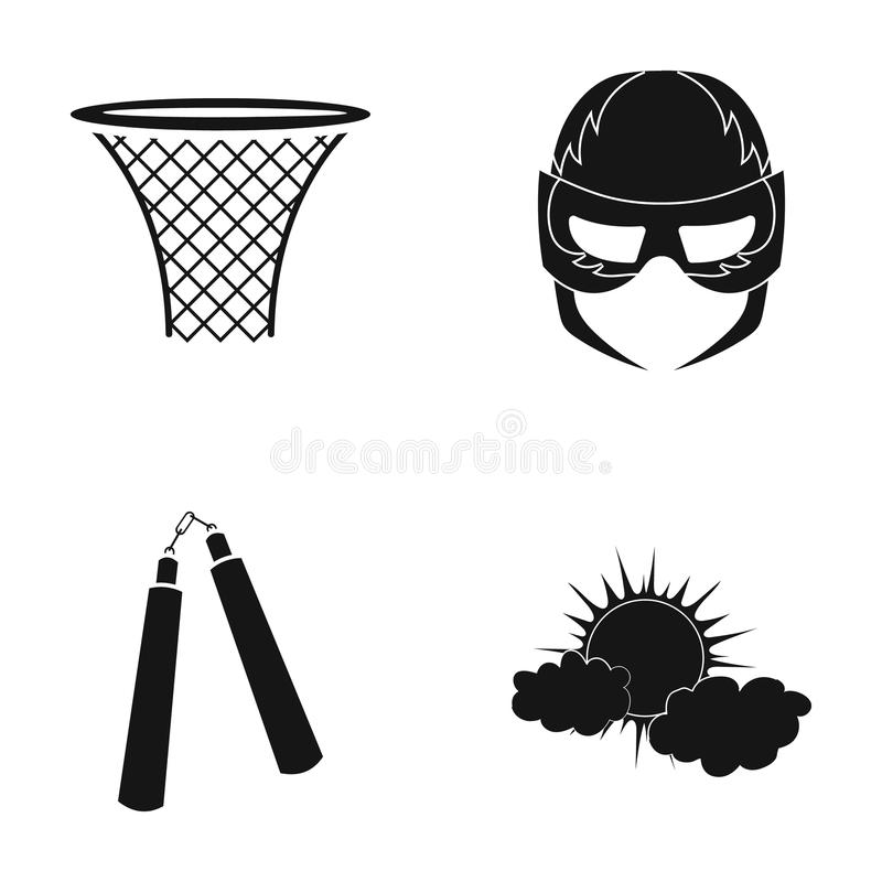 Basketball basket, mask and other web icon in black style. nunchuck, the sun in the clouds icons in set collection. stock illustration