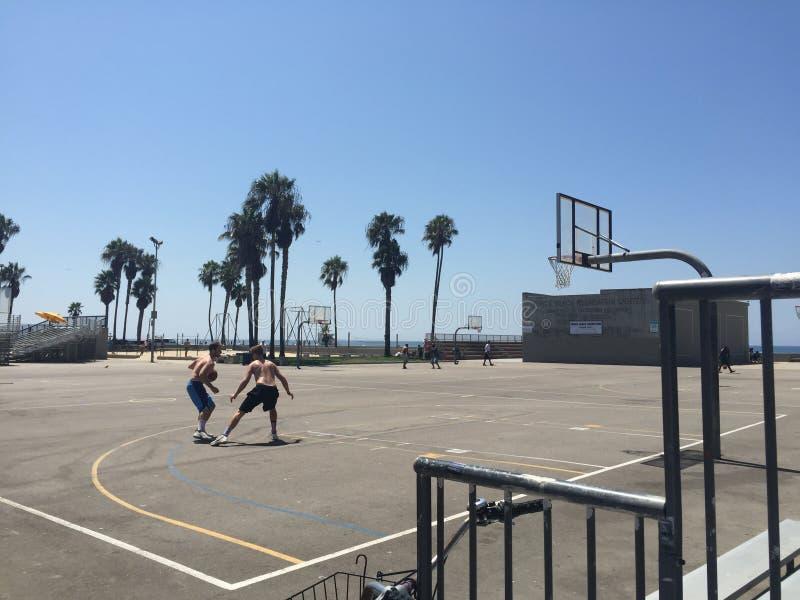 Basketball at the beach. Basketball players at Venice Beach stock photos