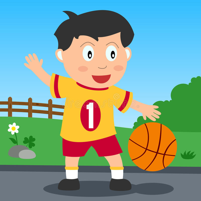 Basketball Boy in the Park. Kids and sport series: a boy playing basketball in a park. Eps file available stock illustration