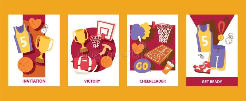 Basketball cads Vektorillustration einladung sieg cheerleader Werden Sie fertig Uniform, Trophäe, Medaille, Korb, Ball stock abbildung