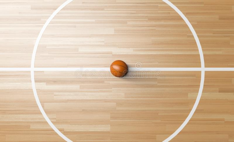 Basketball at the center of Wooden Court 3D rendering. Basketball at the center line circle of Wooden Court 3D rendering vector illustration