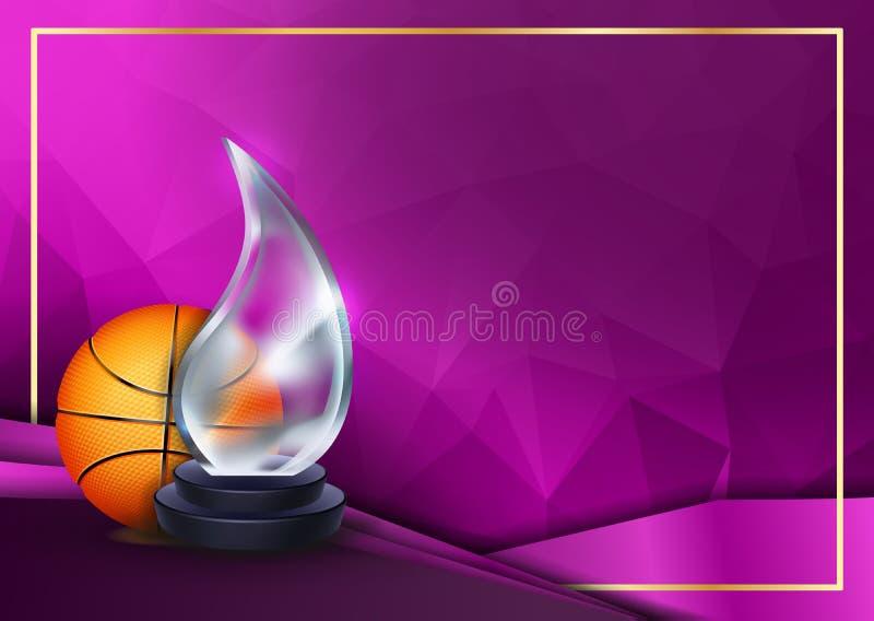 Basketball Certificate Diploma with Glass Trophy Vector Sjabloon voor sporttoewijzing Resultaatontwerp Achtergrond A4 royalty-vrije illustratie