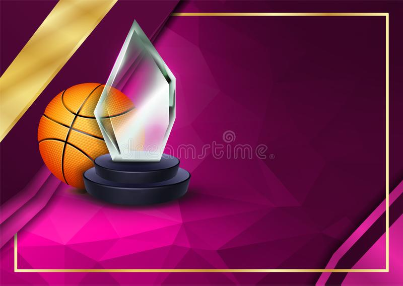 Basketball Certificate Diploma with Glass Trophy Vector Sportdiploma Elegant document Luxepapier A4 Horizontaal vector illustratie