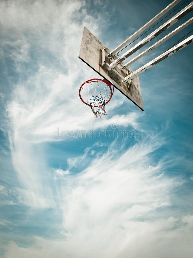 Basketball cest. Against a blue sky royalty free stock images