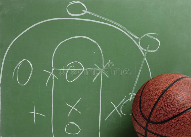 Basketball in chalkboard with play royalty free stock photography