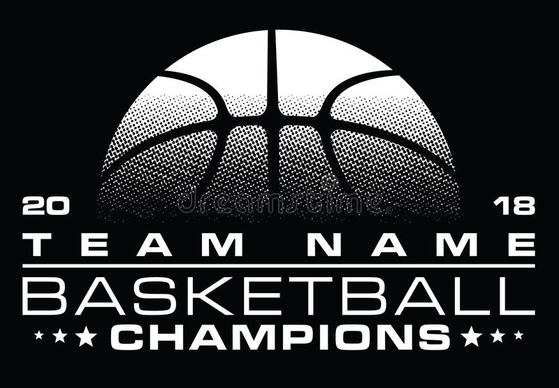Basketball Champions Design With Team Name. Is an illustration of a stylized one color basketball design that can be used for t-shirts, flyers, ads or anything stock illustration