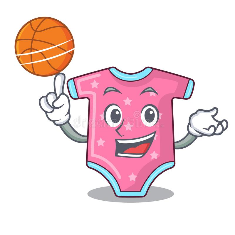 With basketball character baby clothes hanging on clothesline. Vector illustration stock illustration