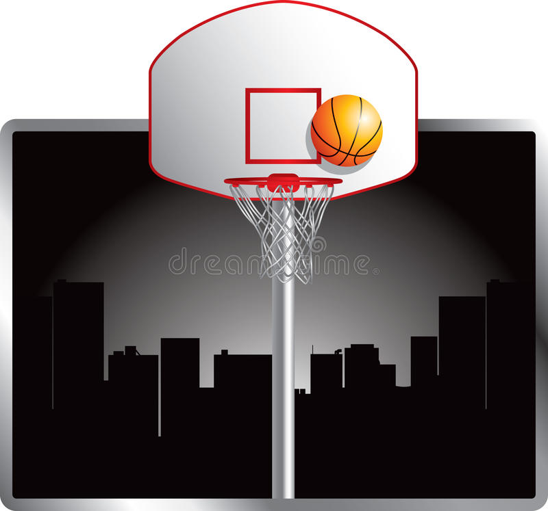 Basketball in the city stock illustration