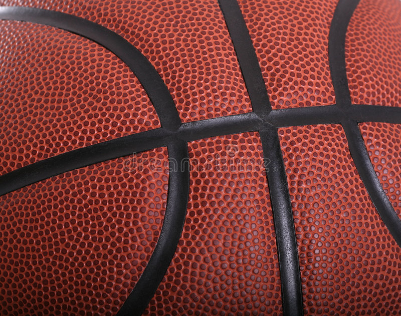 Basketball Close-up. Showing intersection of black seams stock photography