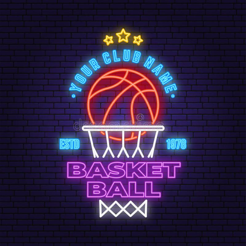 Basketball club neon design or emblem. Vector. Concept for shirt, print, stamp or tee. Vintage typography design with vector illustration