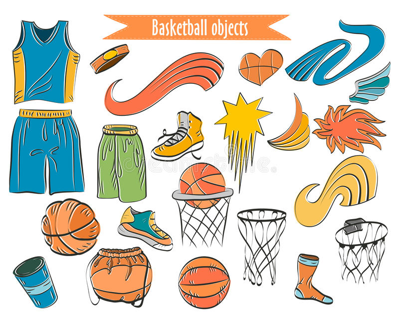 Basketball colorful outline icons set royalty free stock image