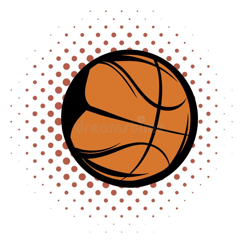 Basketball comics icon. Orange ball for basketball on a white background royalty free illustration