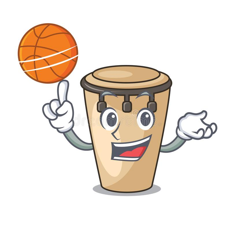 With basketball conga character cartoon style royalty free illustration