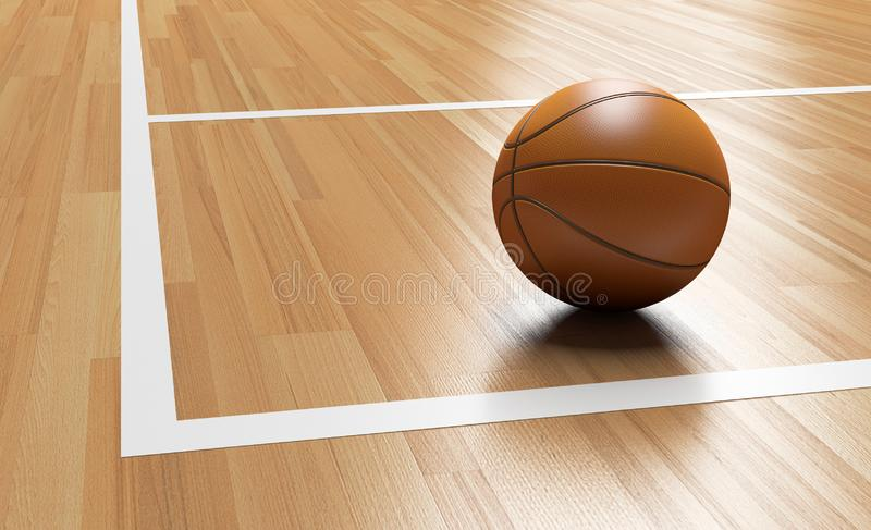 Basketball on the Corner of Wooden Court 3D rendering. Basketball on the Corner of Wooden Court close up with light reflection 3D rendering vector illustration