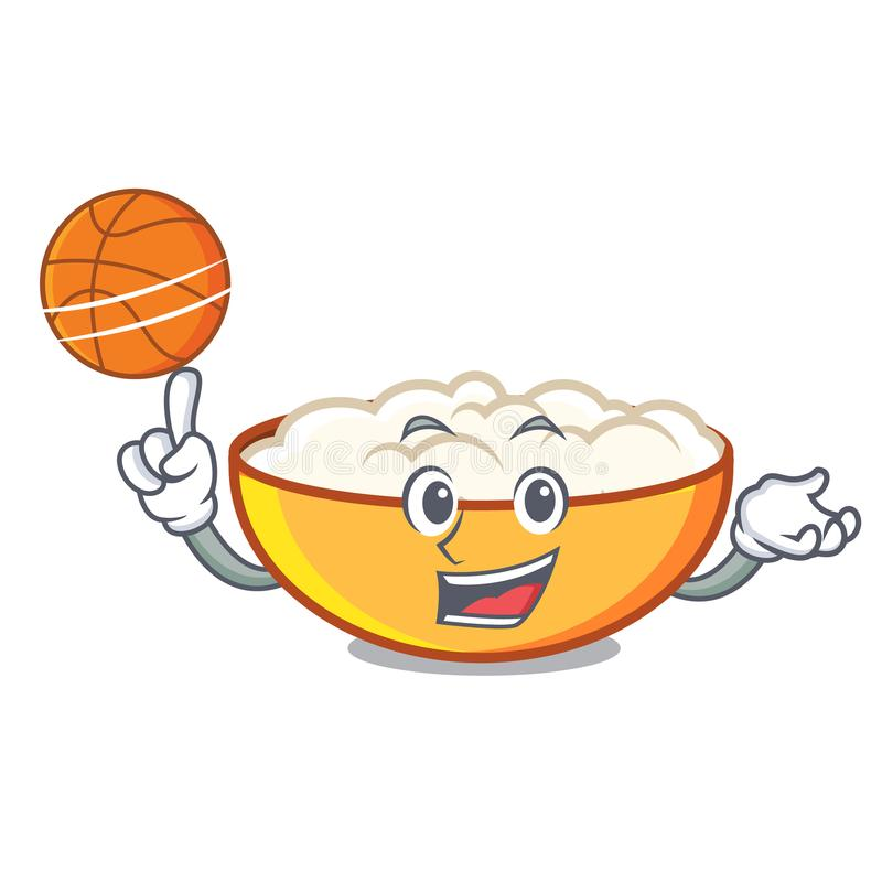 With basketball cottage cheese character cartoon. Vector illustration royalty free illustration