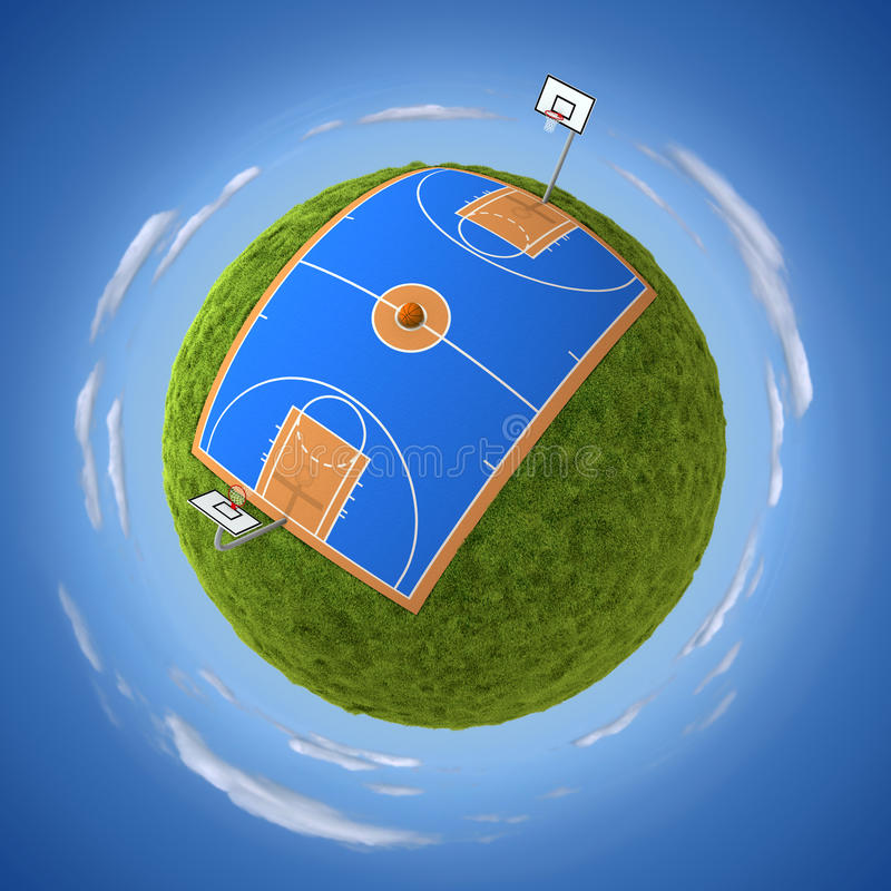 Basketball court. Blue basketball court on green grassy sphere royalty free illustration