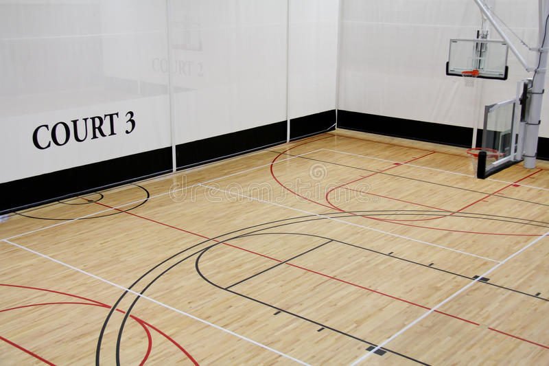 Basketball court. Image of a indoor basketball court at a rereation center stock photos