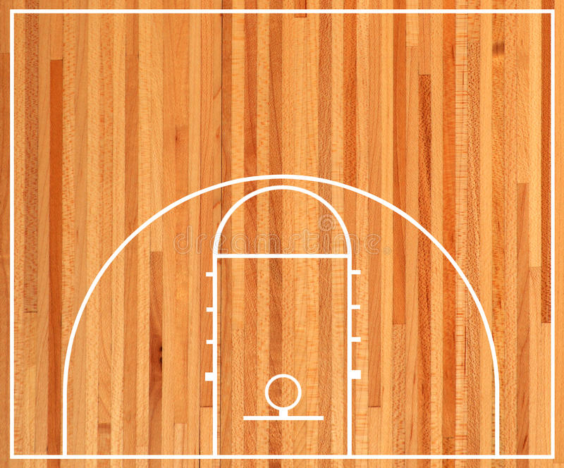 Basketball court. Plan on parquet background royalty free illustration